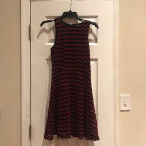 Black and red chevron dress